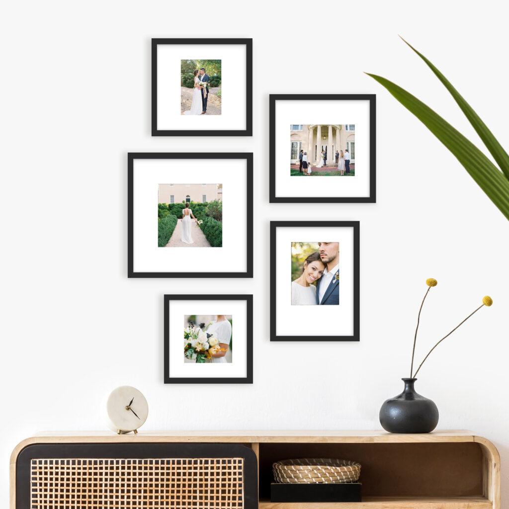 Wedding Gallery Wall mismatch photo frames picture frame